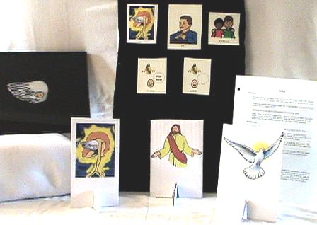 curriculum items, including felt pictures, scripts,                stand-up pictures of Father, Son and Holy Spirit