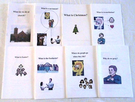A group of social story booklets. The top row shows the stories 'What do we do at church?', with an image of a church; 'What is a sacrament?, with an image of people at a baptism and an image of a person receiving the Eucharist, each connected to a thought balloon showing God, and Jesus embracing a child; 'What is Christmas?', with an image of a Christmas tree; and 'What is reconciliation?', showing an image of God, with arrows pointing to the Mayer-Johnson symbols for 'sad' and 'love', looking down on a child who is signing 'sorry'. The bottom row shows the stories 'What is Easter?', with the Mayer-Johnson symbol for Easter; 'What is the Eucharist?' with an image of the Last Supper and, below it, an image of a young woman receiving the Eucharist; 'Where do people go when they die?', with an image of God with people; and 'Why do we pray?', with an image of a boy with his hands clasped in prayer.